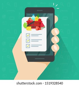 Grocery shopping list app on cellphone or smartphone illustration, flat cartoon person holding mobile phone and food products list to buy with checklist or checkmarks image