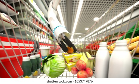 Grocery store. Automatic hand buys groceries. Holds a tomato in his hand. 3D illustration