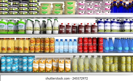 Grocery Store concept. Supermarket refrigerator with various products