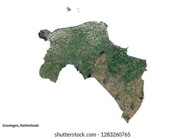 Groningen, Netherlands Map (3D illustration)