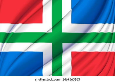 Groningen waving flag illustration. Regions of the Netherlands. Perfect for background and texture usage.