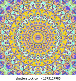 Groovy Colorful Retro Trippy Hippie Boho Mandala Art