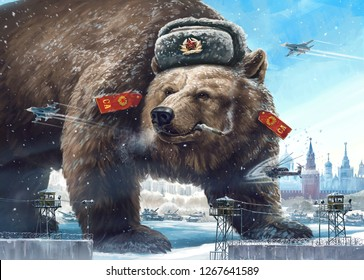 Grotesque (caricature) character. Formidable bear in a soldier's hat looks away West's and smokes. Comic image of Russia and the USSR. Propaganda cliche.