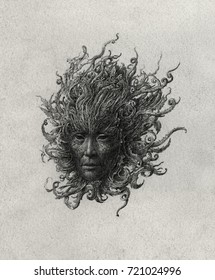 Grotesque, Gorgon-like head with dark face and baroque swirls instead of hair.
