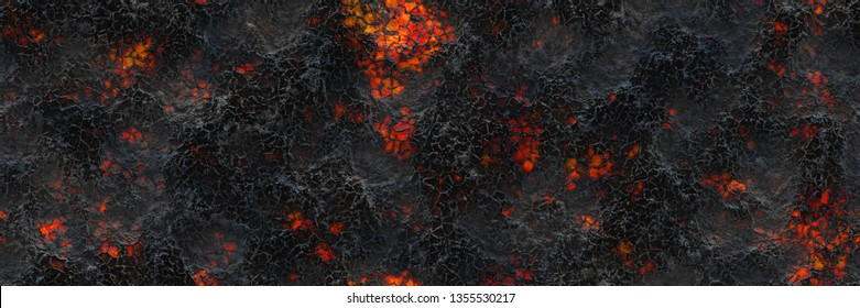 Ground hot coals. Danger heat terrain- 3d illustration smouldering eruption. Charcoal burning- crack surface. Abstract nature pattern- glow faded flame. Background texture- little spark