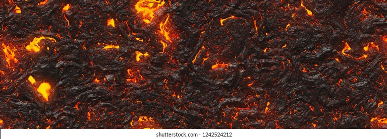 Ground hot lava. Burning coals- crack surface. Abstract nature pattern- glow faded flame. Danger terrain- 3d illustration volcano eruption