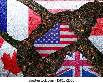 The ground stones are made of American, French, British, Canadian, Austrian and Indonesian flags. The appeal expressed that the United States retaliated with a digital tax on French products.