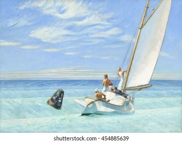 Ground Swell, by Edward Hopper, 1939, American painting, oil on canvas. It was painted in clear blues and greens near Hopper's summer studio at South Truro, Massachusetts. The buoy near the small cat
