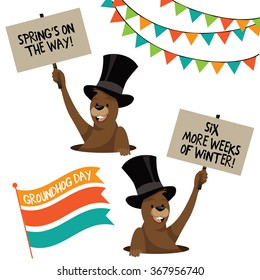 Groundhog Day elements cartoon marmot holding sign forecasting the weather.