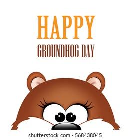 Groundhog day. Marmot on white background.