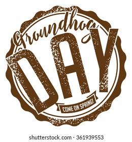 Groundhog Day rubber stamp design. stock illustration.