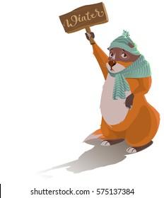 Groundhog Day. Sad marmot predicted winter. Cartoon illustration