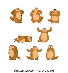 Groundhog set poses and motion. Woodchuck happy and yoga. Marmot sleeping and angry. guilty and sad. Groundhog day