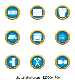Groundwork icons set. Flat set of 9 groundwork icons for web isolated on white background