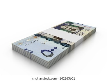 group of 3D Saudi  Money isolated on white background