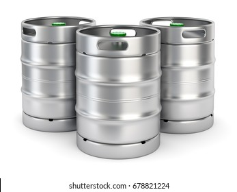 Group of aluminum beer kegs with green lid isolated on white background. 3D illustration