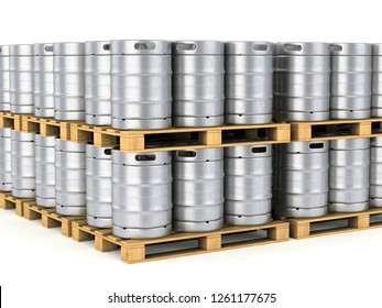 Group of aluminum beer kegs on wood pallet isolated on white background. 3D illustration