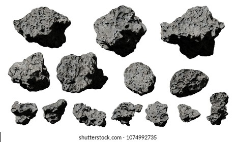 group of asteroids isolated on white background (3d rendering)