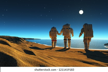 Group of astronauts are on the planet,3d render