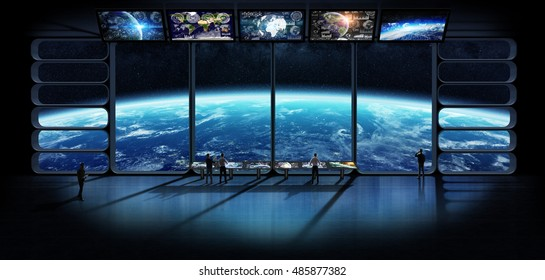 Group of astronauts studying the planet earth from a space observatory station 3D rendering elements of this image furnished by NASA