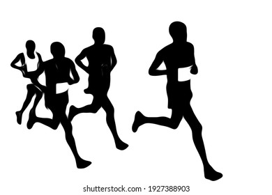 Group of athletes running over the white background illustration, running in action