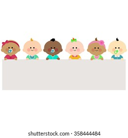 Group of babies holding a blank horizontal banner.