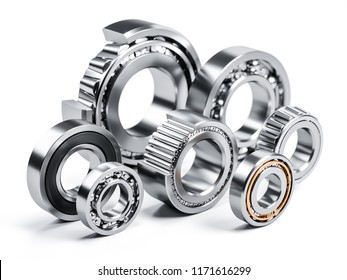 Group of ball bearings isolated on white background 3d