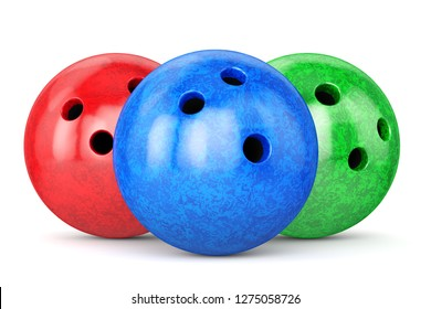 Group of bowling balls with red, green and bleu marble textures isolated on white background. 3D illustration