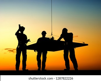 A group of builders and a hook.,3d render
