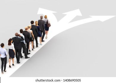 Group of business people standing in line waiting to choose a direction. Choosing a business destination or career path concept with room for text, logo, or copy space. 3d rendering