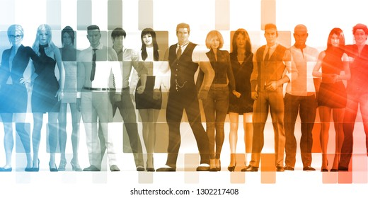 Group of Business People Standing Together Confident 3D Render