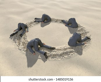 group of businessmen hides their heads in the sand, 3d illustration
