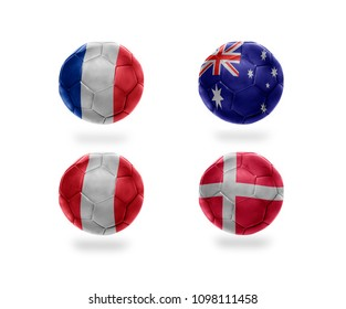 group C . realistic football balls with national flags of france, australia, peru, denmark. soccer teams. 3D illustration