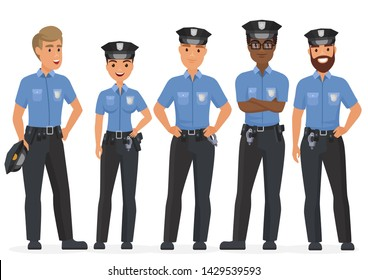 Group of cartoon security police officers. Woman and man police cops characters.