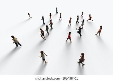 Group of children running, 3D rendering
