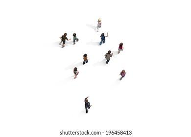 Group of children walking, 3D rendering