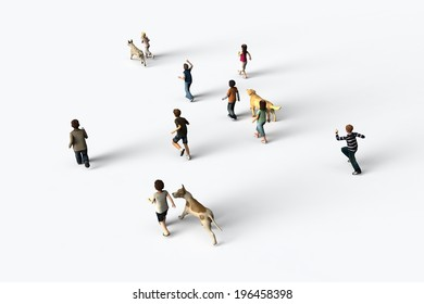 Group of children walking with dogs, 3D rendering