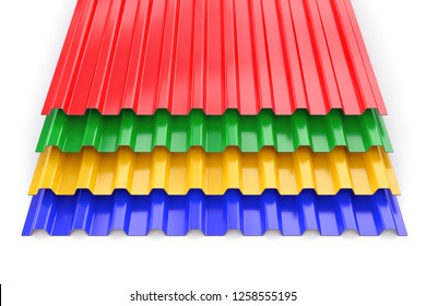 Group of colorful construction steel profile panel sheets isolated on white background. 3D illustration