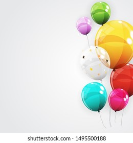 Group of Colour Glossy Helium Balloons Background. Set of  Balloons for Birthday, Anniversary, Celebration  Party Decorations.  Illustration