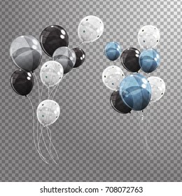 Group of Colour Glossy Helium Balloons Isolated on Transperent  Background. Set of Silver, Blue, White with Confetti Balloons for Birthday, Anniversary,