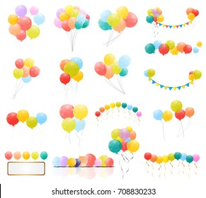 Group of Colour Glossy Helium Balloons Isolated on Transperent  Background. Set of  Balloons and Flags for Birthday, Anniversary, Celebration  Party Decorations.  Illustration