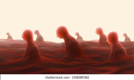 Group of depression people in fantasy landscape, hopeless, sorrow, loneliness concept, surreal painting
