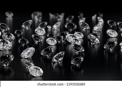 Group of Diamonds on black glossy floor