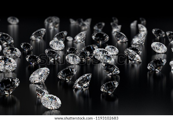 Group of Diamonds on black glossy floor