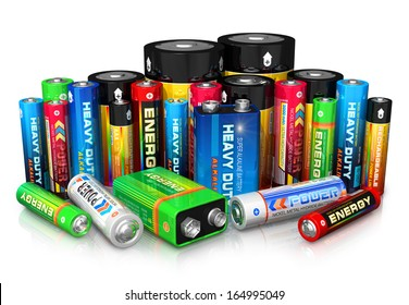 Group of different size color batteries isolated on white background with reflection effect