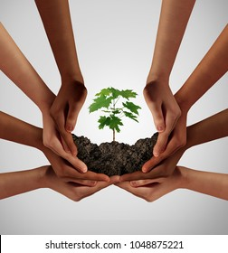 Group of diverse people care and responsibility idea as a cooperation through social diversity nurturing a sapling tree.