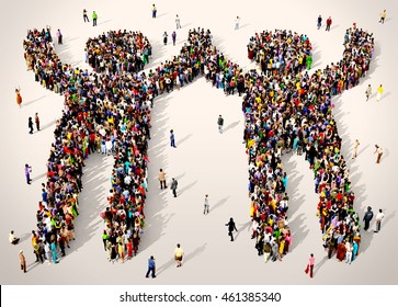 Group of diverse people gathered together in the shape of winners celebrating, 3d illustration
