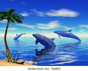 A group of dolphins playing in the sea