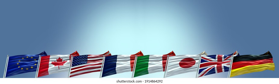 Group of Eight G8 flags waving with texture background- 3D illustration - 3D render