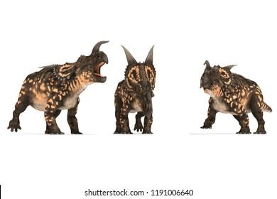 group einiosaurus on white background 3D illustration